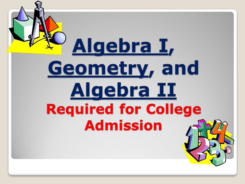 Algebra I, Geometry, and Algebra II Required for College Admission
