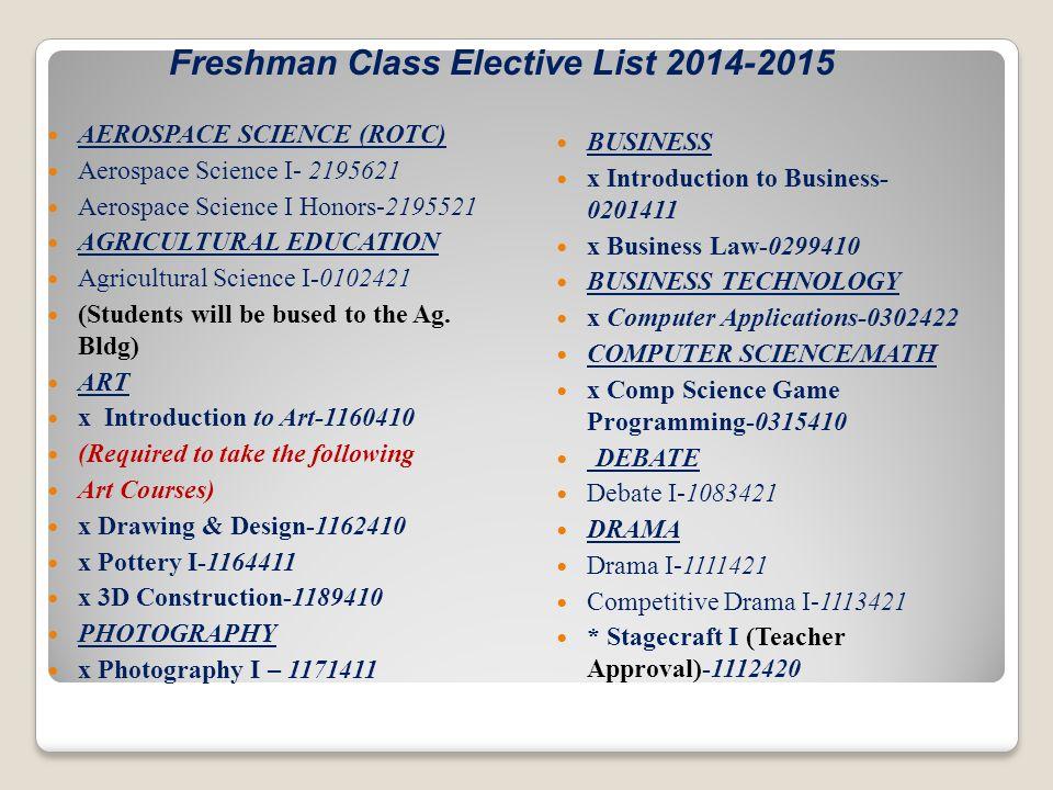 Freshman Class Elective List 2014-2015