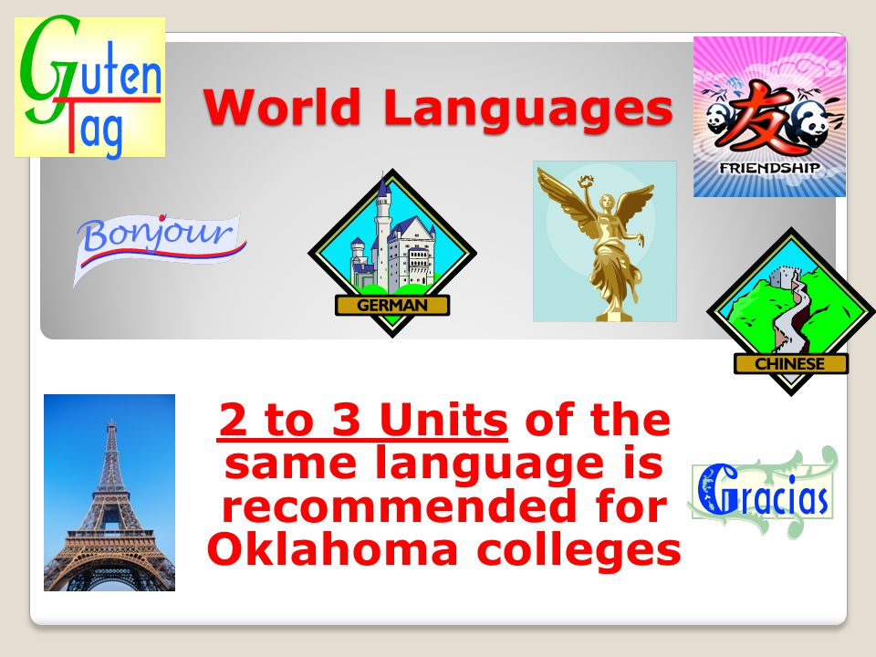 2 to 3 Units of the same language is recommended for Oklahoma colleges
