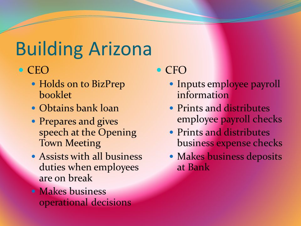 Building Arizona CEO CFO Holds on to BizPrep booklet Obtains bank loan