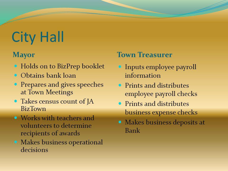 City Hall Mayor Town Treasurer Holds on to BizPrep booklet