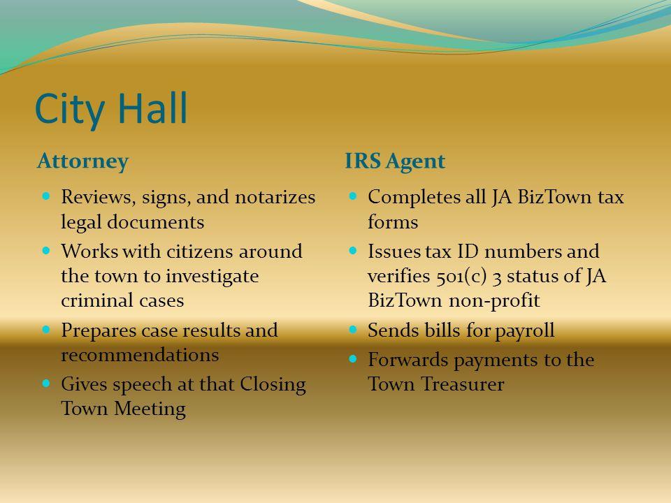 City Hall Attorney IRS Agent