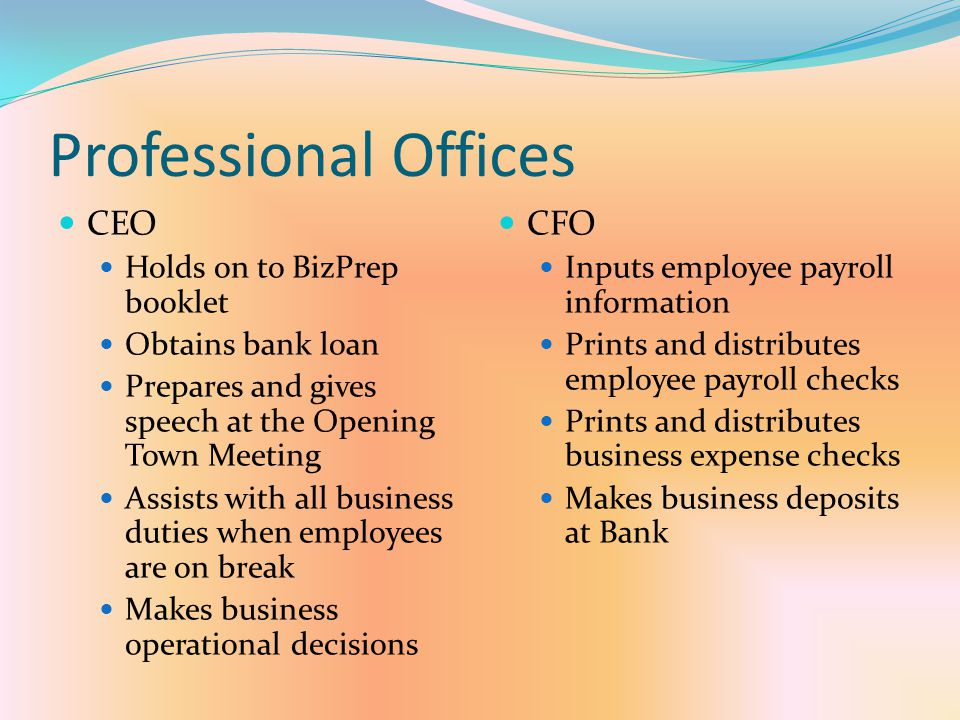Professional Offices CEO CFO Holds on to BizPrep booklet