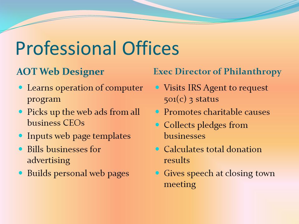 Professional Offices AOT Web Designer Exec Director of Philanthropy
