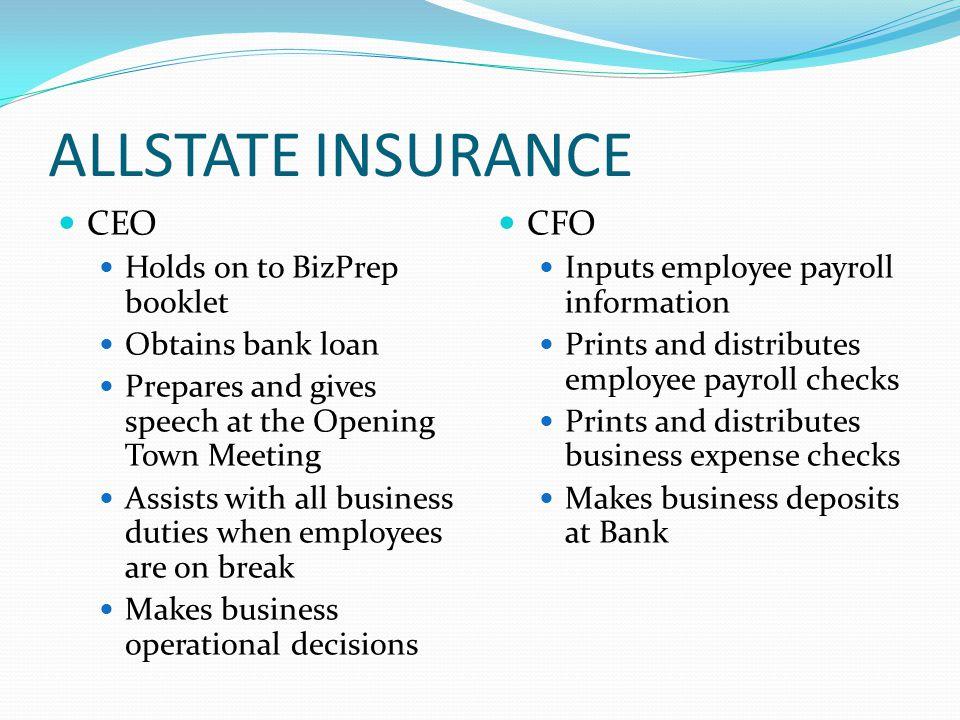 ALLSTATE INSURANCE CEO CFO Holds on to BizPrep booklet