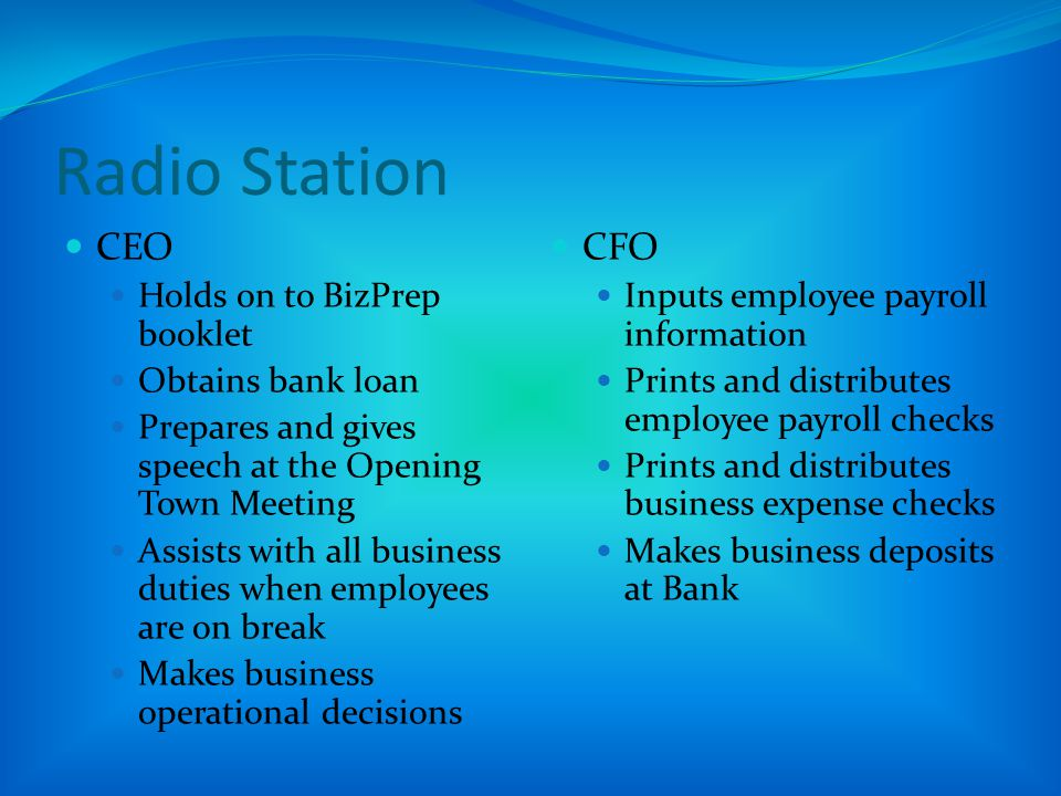 Radio Station CEO CFO Holds on to BizPrep booklet Obtains bank loan