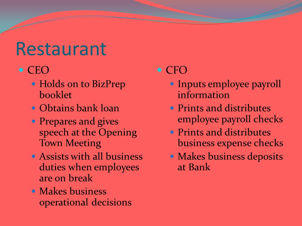 Restaurant CEO CFO Holds on to BizPrep booklet Obtains bank loan