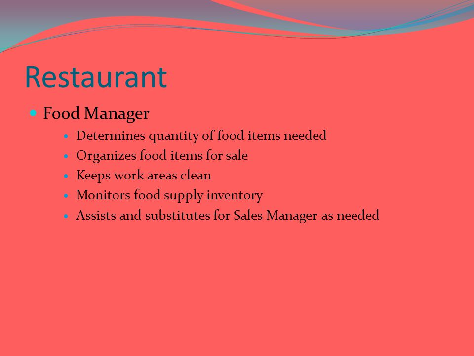Restaurant Food Manager Determines quantity of food items needed