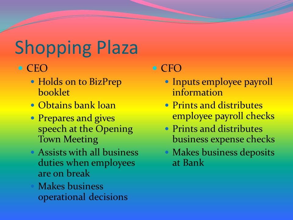 Shopping Plaza CEO CFO Holds on to BizPrep booklet Obtains bank loan
