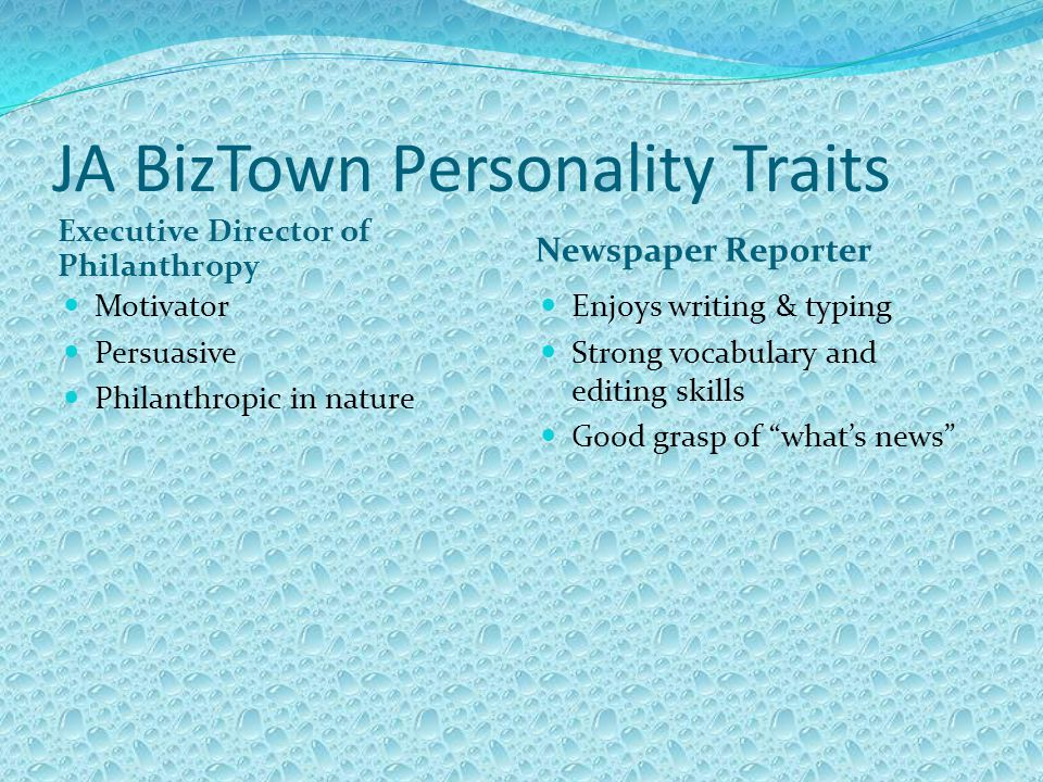 JA BizTown Personality Traits