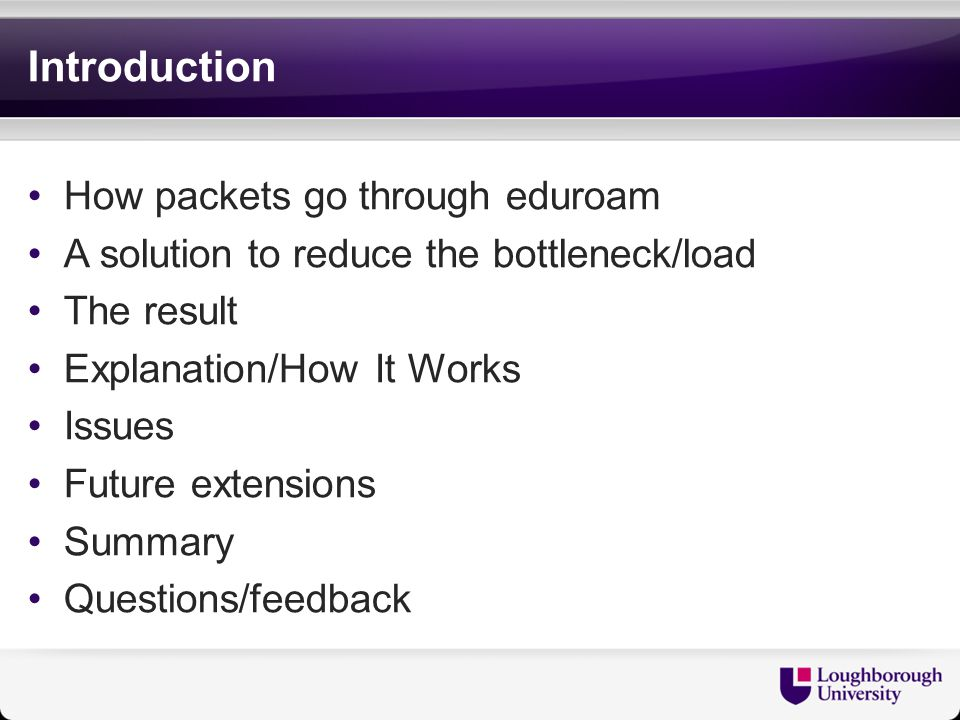 Introduction How packets go through eduroam