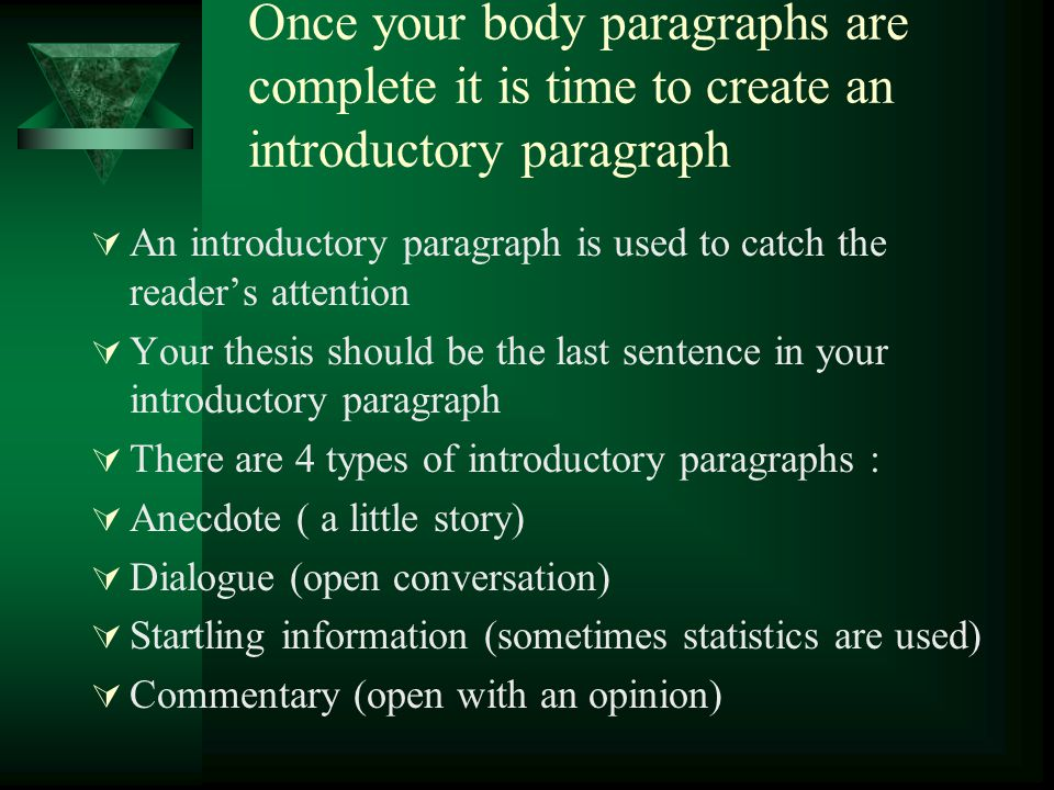 Once your body paragraphs are complete it is time to create an introductory paragraph