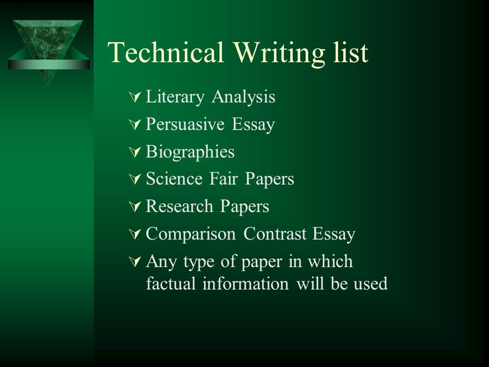 Technical Writing list