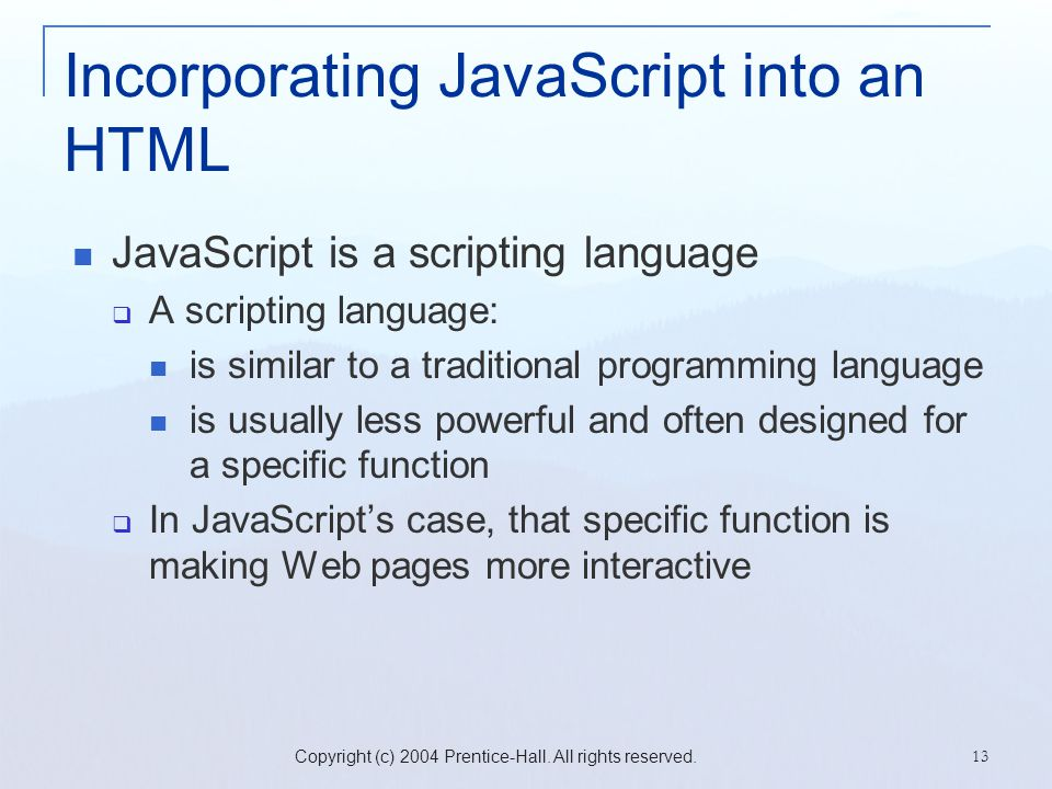 Incorporating JavaScript into an HTML