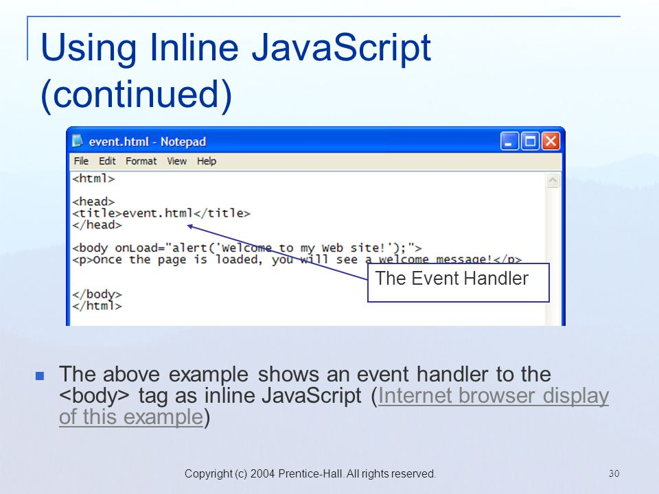 Using Inline JavaScript (continued)