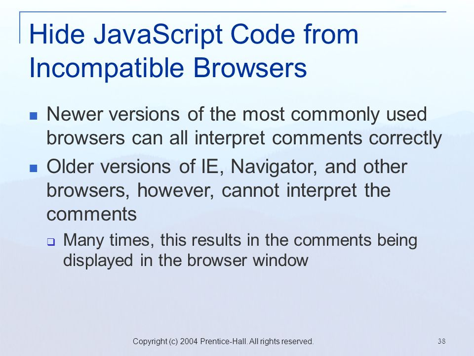 Hide JavaScript Code from Incompatible Browsers