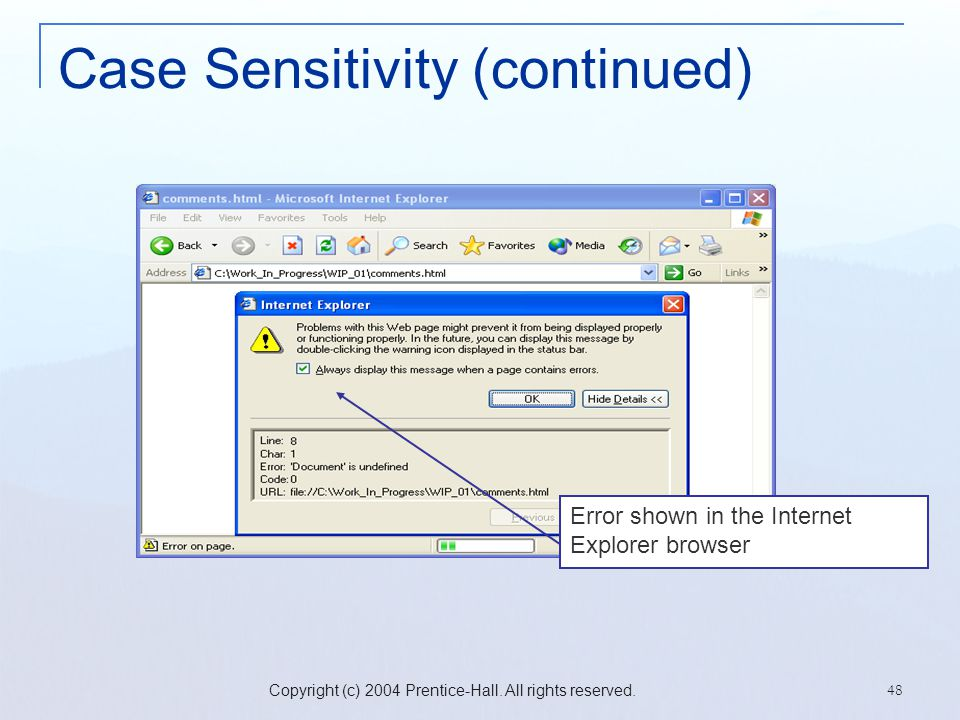 Case Sensitivity (continued)