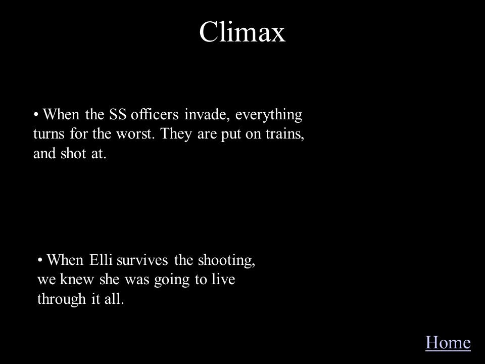 Climax When the SS officers invade, everything turns for the worst. They are put on trains, and shot at.