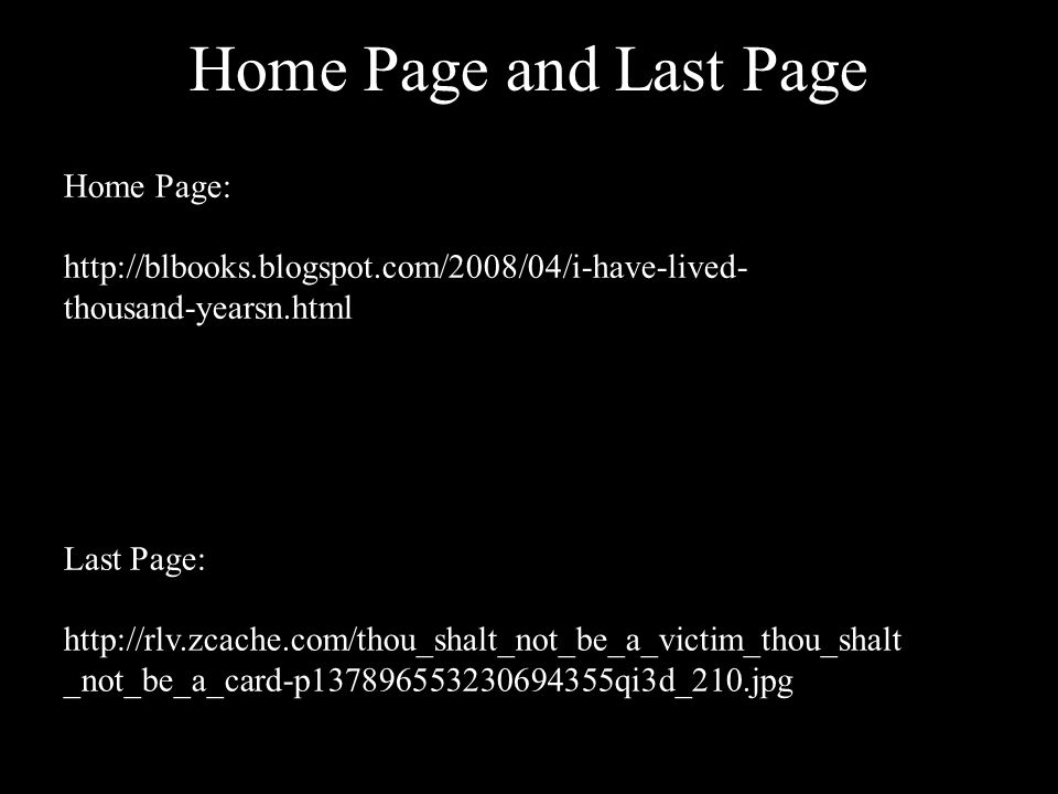 Home Page and Last Page Home Page: