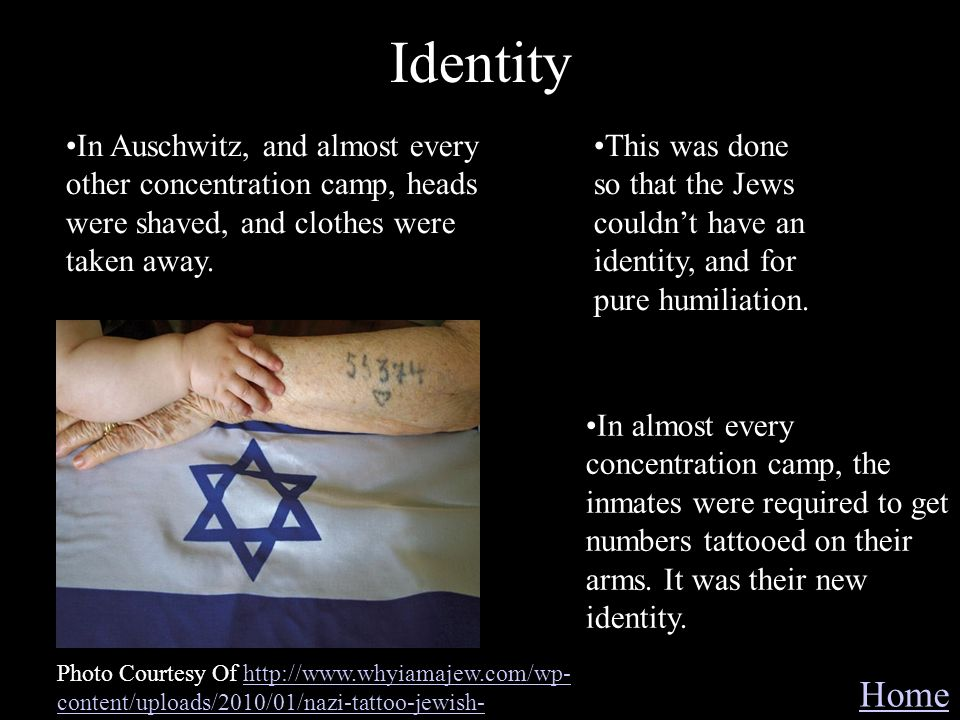 Identity In Auschwitz, and almost every other concentration camp, heads were shaved, and clothes were taken away.