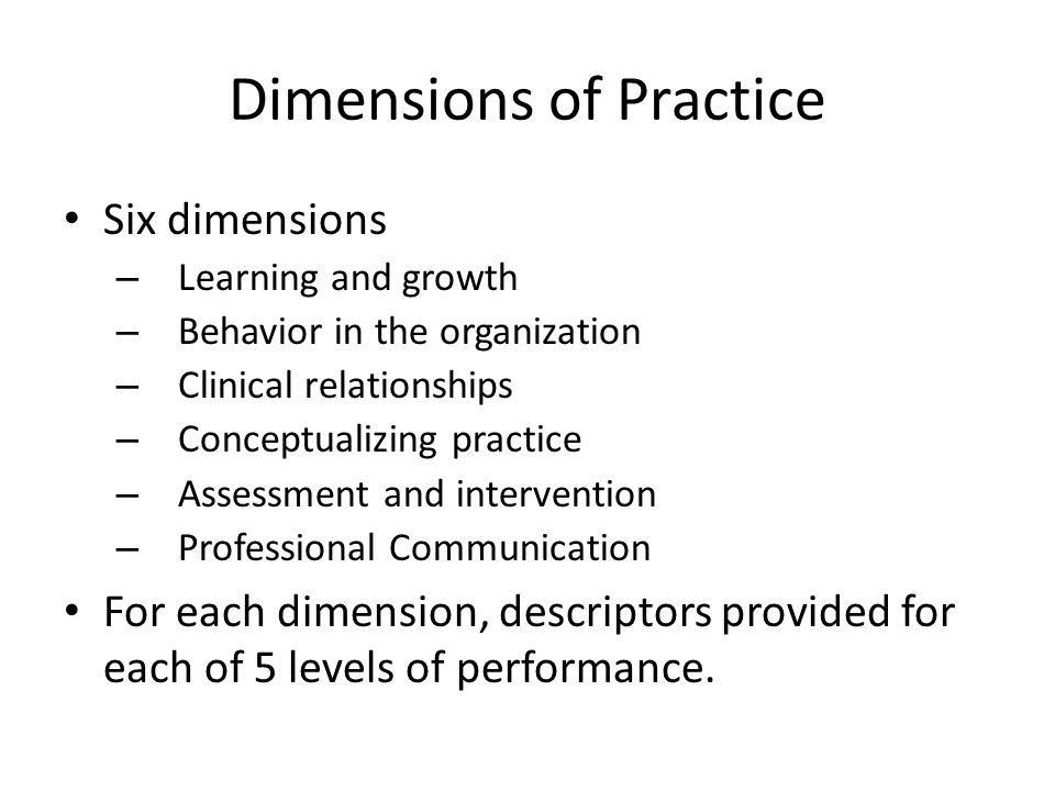 Dimensions of Practice
