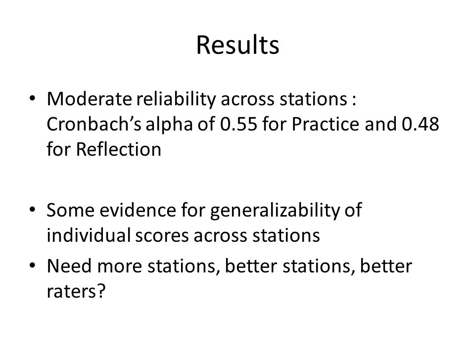 Results Moderate reliability across stations : Cronbach's alpha of 0.55 for Practice and 0.48 for Reflection.