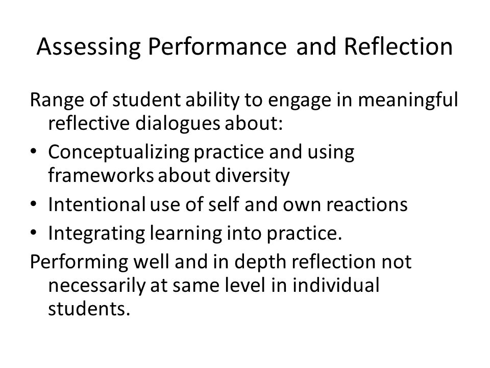 Assessing Performance and Reflection