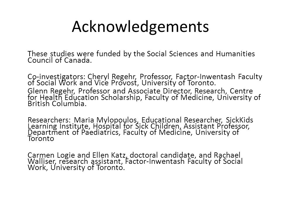 Acknowledgements These studies were funded by the Social Sciences and Humanities Council of Canada.