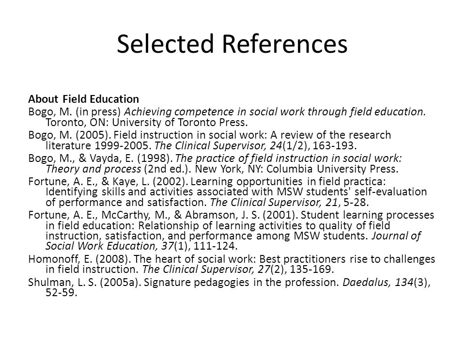 Selected References About Field Education