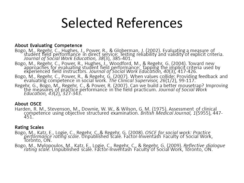 Selected References About Evaluating Competence