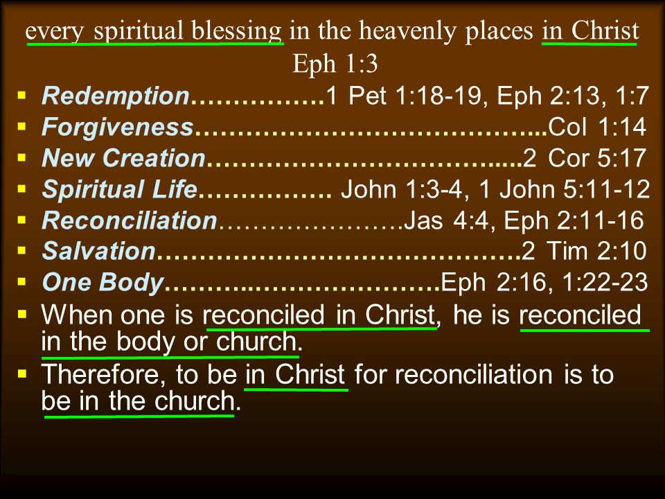 every spiritual blessing in the heavenly places in Christ Eph 1:3
