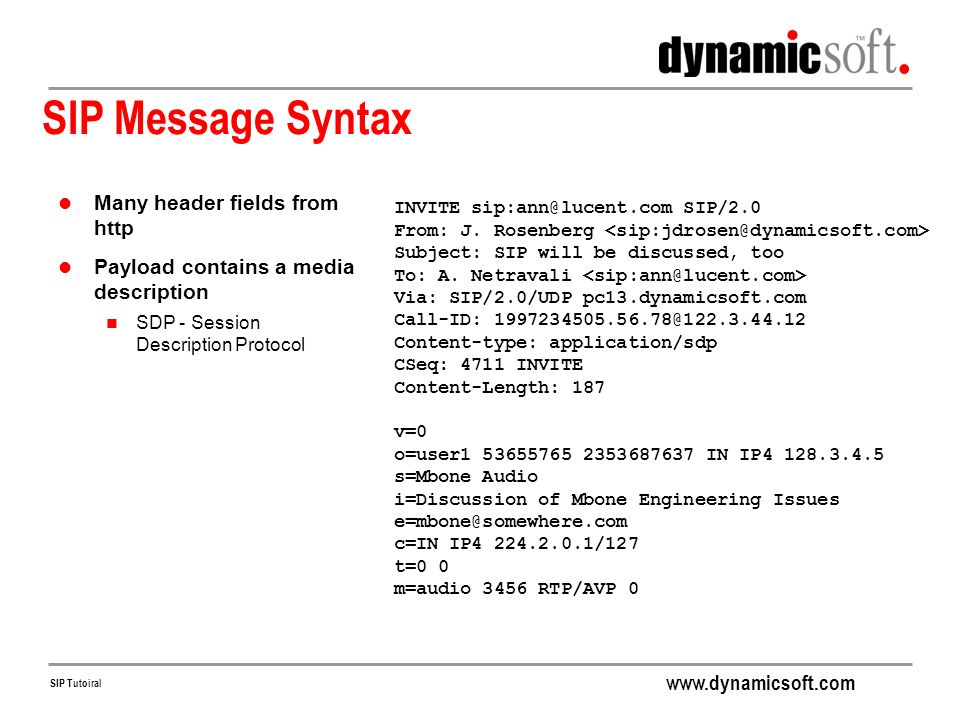 SIP Message Syntax Many header fields from http