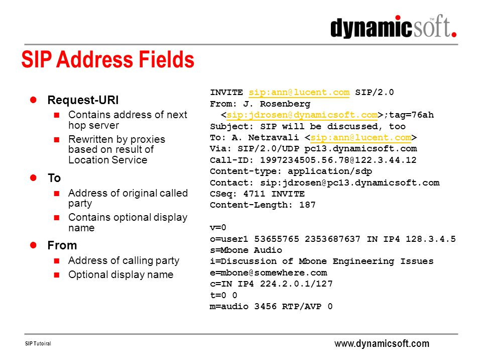 SIP Address Fields Request-URI To From