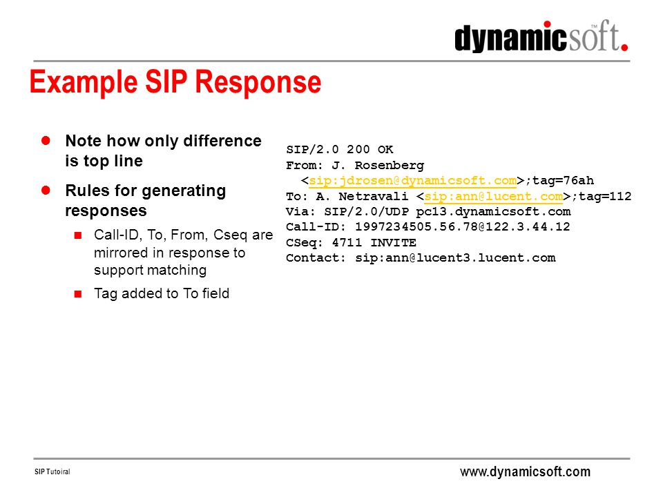 Example SIP Response Note how only difference is top line