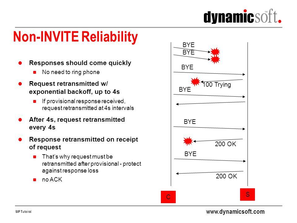 Non-INVITE Reliability