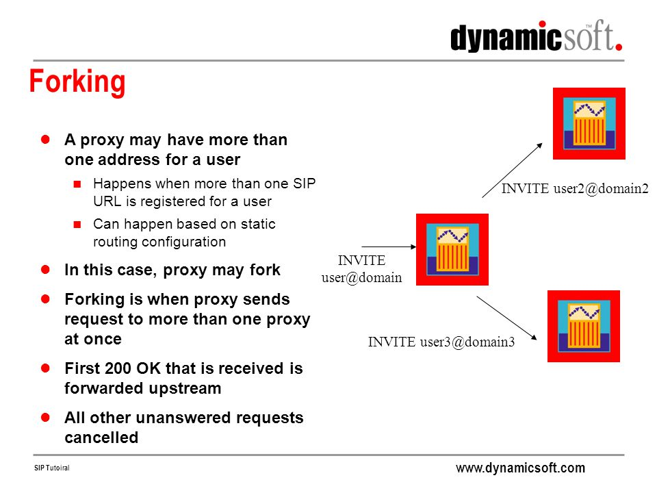 Forking A proxy may have more than one address for a user