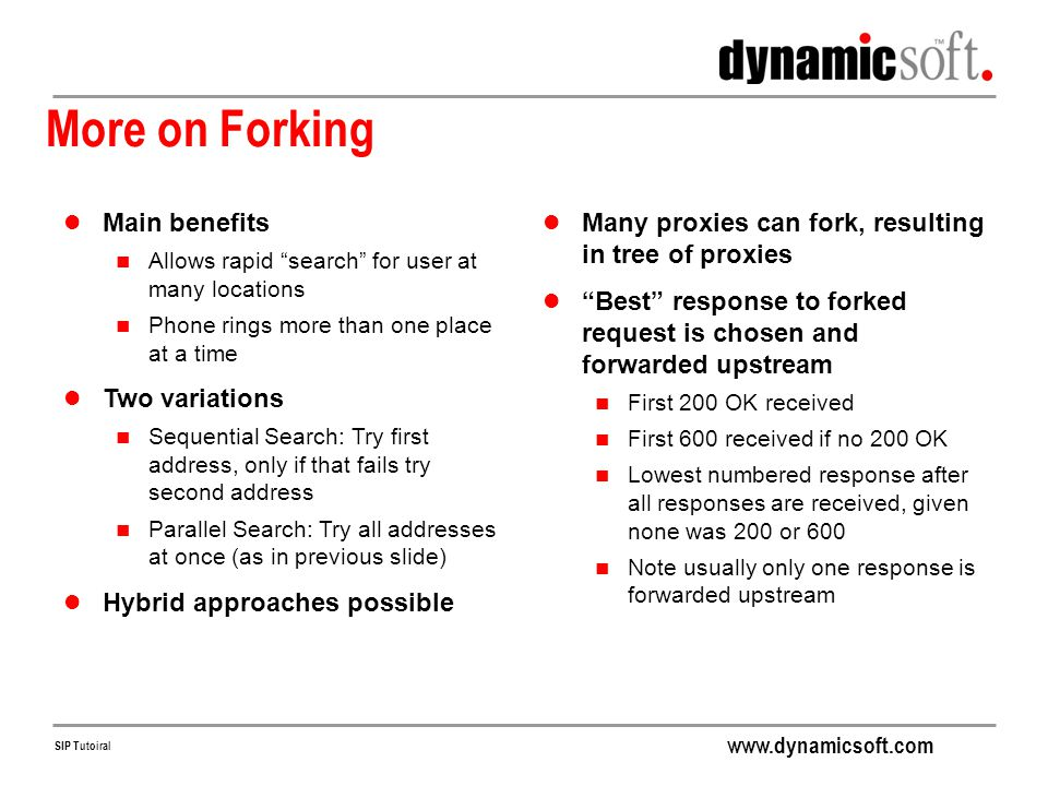 More on Forking Main benefits Two variations