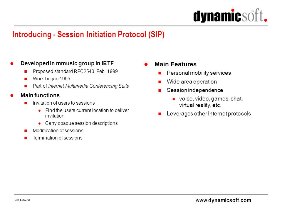 Introducing - Session Initiation Protocol (SIP)