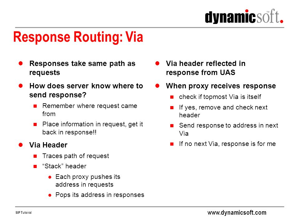 Response Routing: Via Responses take same path as requests