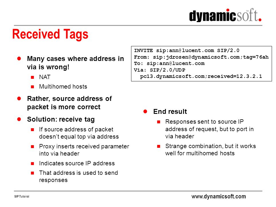 Received Tags Many cases where address in via is wrong!