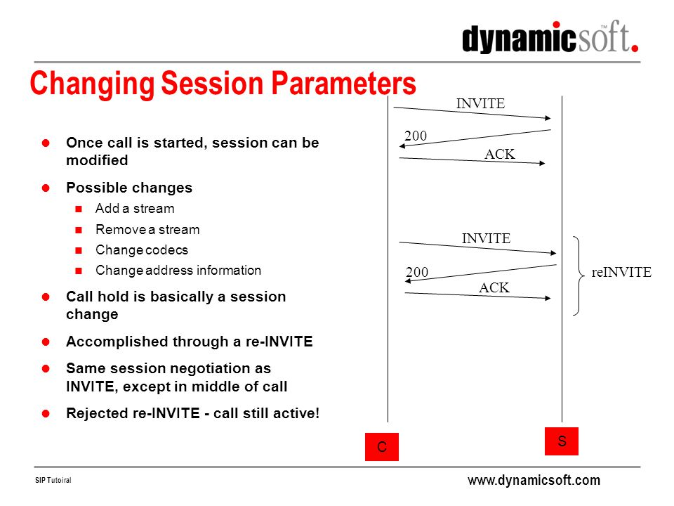 Changing Session Parameters