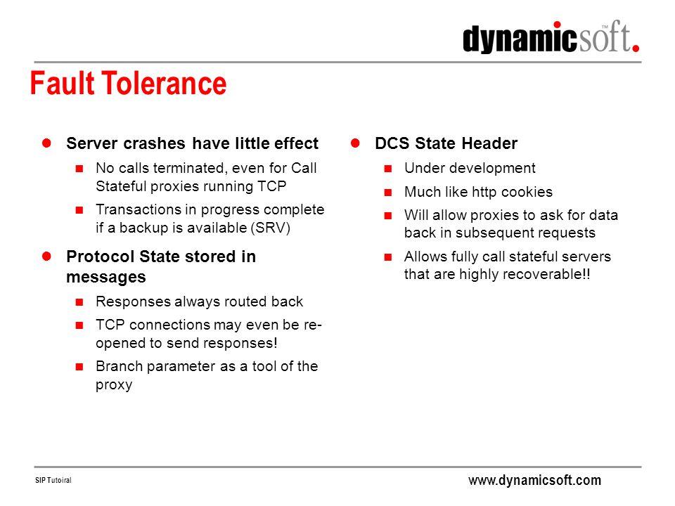 Fault Tolerance Server crashes have little effect