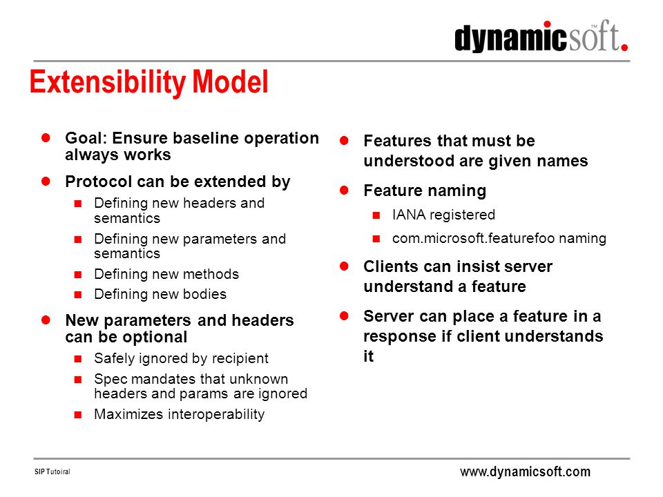 Extensibility Model Goal: Ensure baseline operation always works