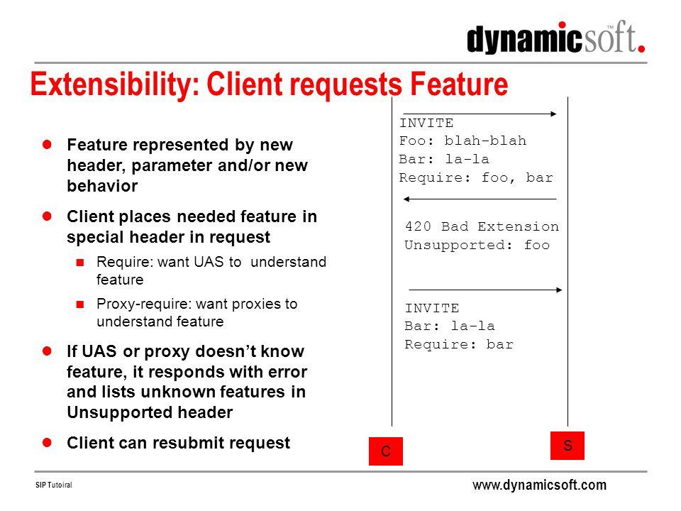 Extensibility: Client requests Feature