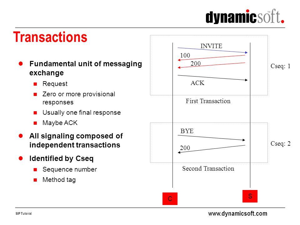 Transactions Fundamental unit of messaging exchange