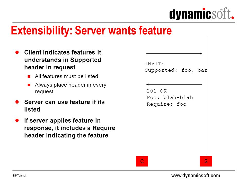 Extensibility: Server wants feature