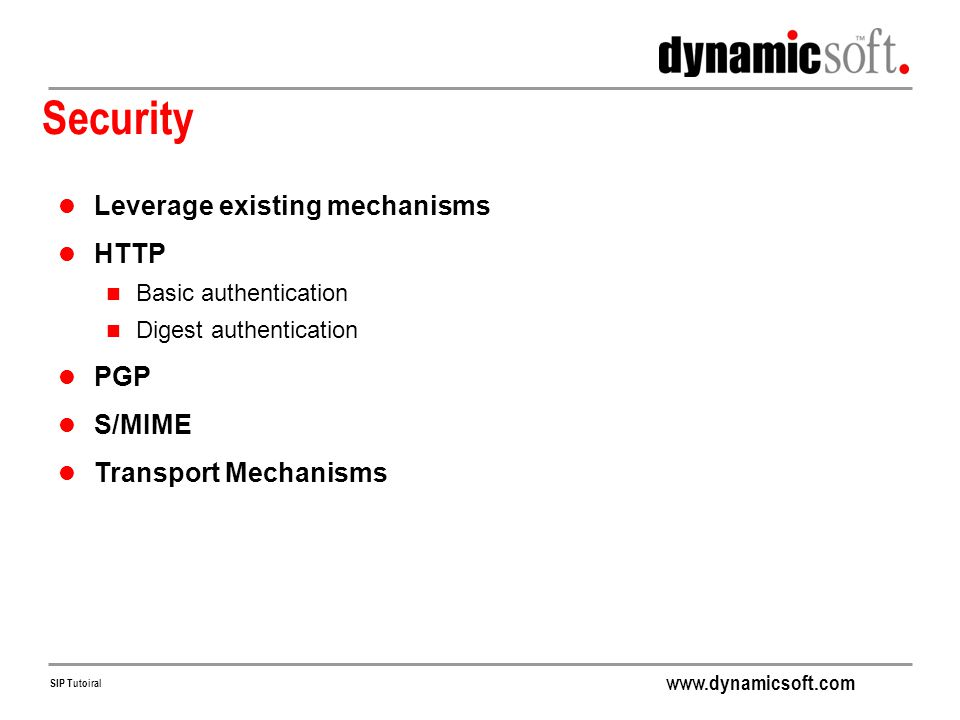 Security Leverage existing mechanisms HTTP PGP S/MIME