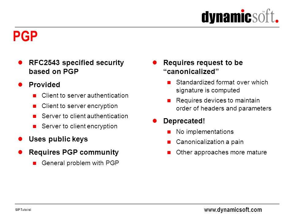 PGP RFC2543 specified security based on PGP Provided Uses public keys