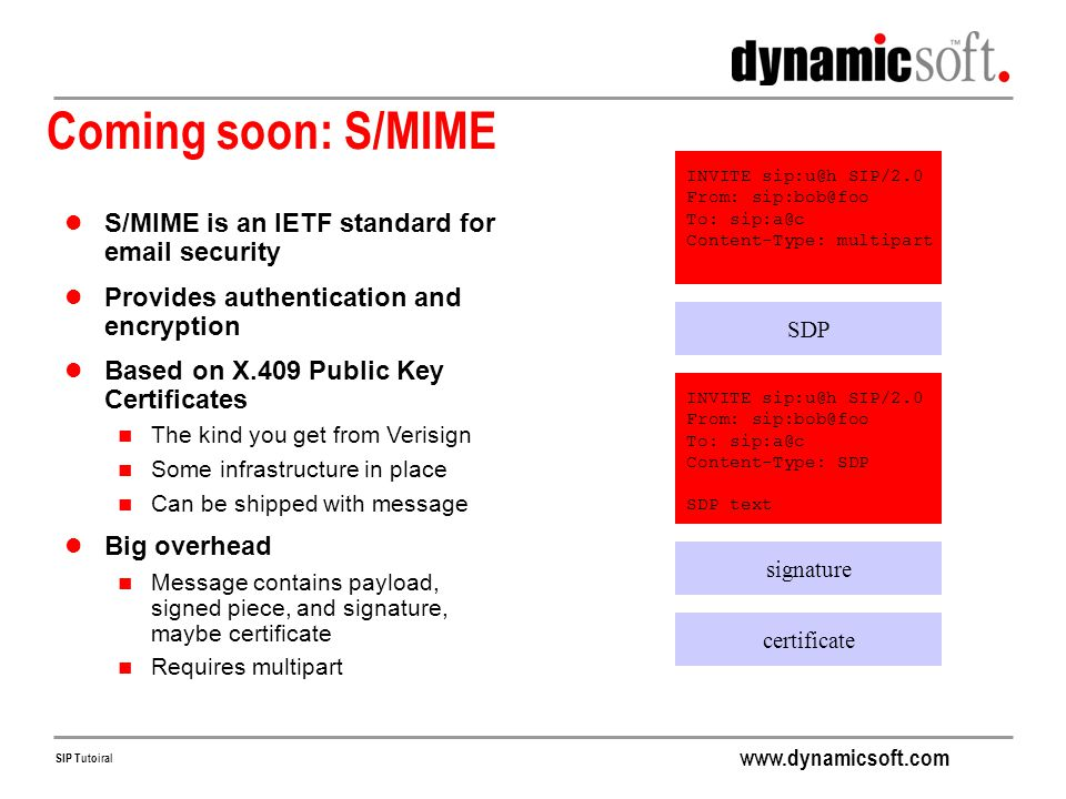 Coming soon: S/MIME S/MIME is an IETF standard for email security