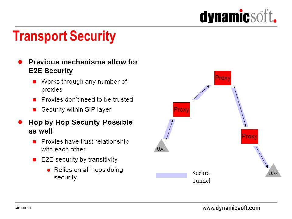 Transport Security Previous mechanisms allow for E2E Security